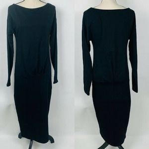 Pepe Runa Black Round Neck Long Dress
